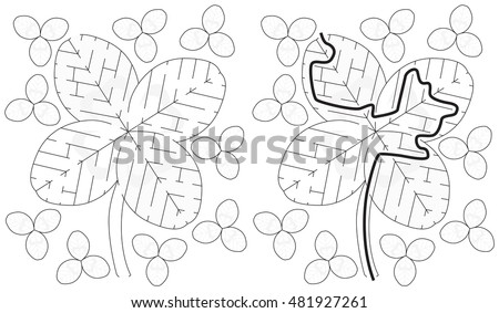 Easy Four Leaf Clover Maze Younger Stock Vector Royalty Free