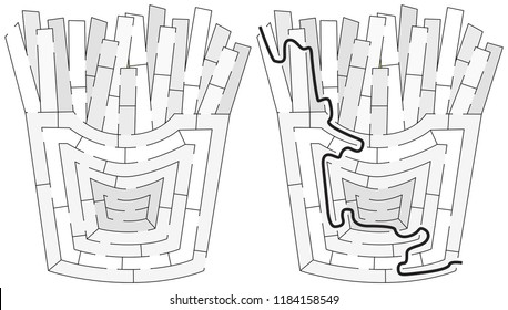 Easy french fries maze for younger kids with a solution in black and white