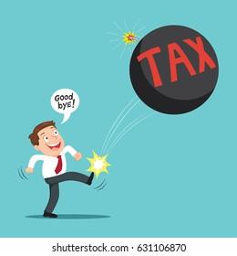 Easy going man kicking tax ball away like as soccer ball, success tax business