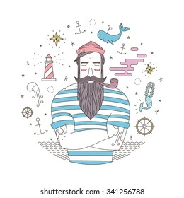 Easy illustration of a sailor with a lighthouse in the style of an old tattoo. Print for T-shirts with sailor and anchor