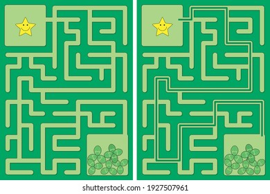 Easy little star and four leaf clover maze for younger kids with a solution