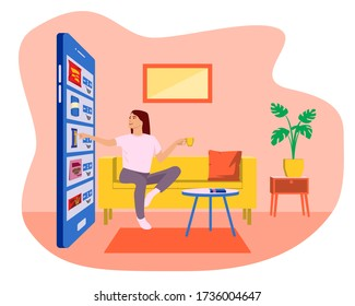 Easy online shopping with smartphone. Ecommerce and digital marketing concept. Young woman sitting on sofa  and drinking coffee while doing online shopping with mobile phone. Stay home concept.