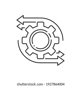 easy operation process with thin line gearwheel. outline trend modern simple recycle or execute logotype graphic design element isolated on white. concept of financial engine or solution realization