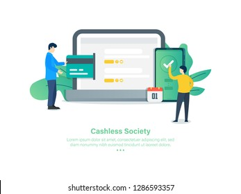 Easy Payment with e Money. Cashless Society Concept. 3d Isometric Vector Illustration.