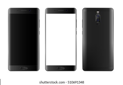 Easy to place into screen smartphone. Modern black Touchscreen phone isolated on white. Front and back view of smartphone. smart Phone with edge display. Cellphone vector illustration