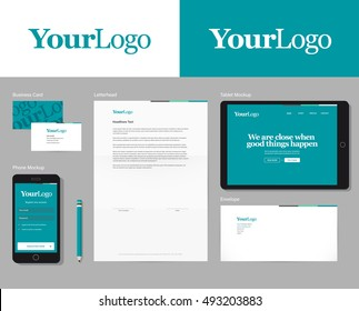 Easy switchable logo in symbol & global colors. Corporate identity vector mockup with basic stationary set.