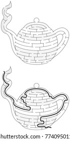 Easy teapot maze for younger kids with a solution in black and white