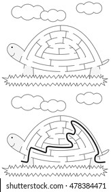 Easy tortoise maze for younger kids with a solution in black and white