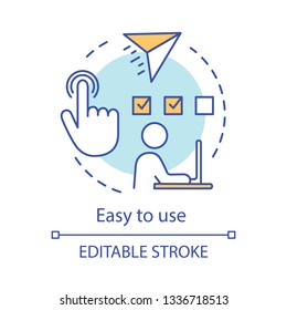 Easy to use concept icon. Remote job, freelance, online test. E-commerce. Digital technologies. Online shopping benefits idea thin line illustration. Vector isolated outline drawing. Editable stroke