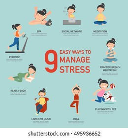 Easy ways to manage stress,infographic,vector illustration