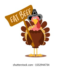 Eat beef, cute demonstrator turkey - Thanksgiving Day calligraphic poster. Autumn color poster. Good for scrap booking, posters, greeting cards, banners, textiles, gifts, shirts, mugs or other gifts.