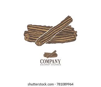 Eat Churros Food on the Restaurant Illustration Hand Drawing Symbol Vector Logo Company