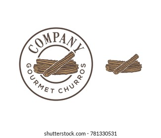 Eat Churros Food on the Restaurant Illustration Hand Drawing Symbol Vector Logo Stamp Circle