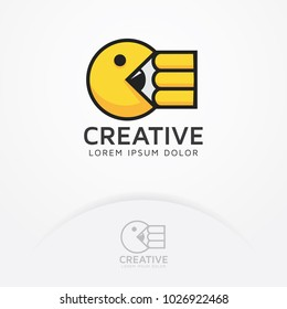Eat creativity. The iconic illustrations of the arcade game eat the pencil. Illustration of Pacman arcade game, Pacman eating pencil - Vector logo template