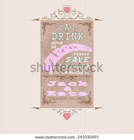 Eat Drink Be Married Invitation Wedding Stock Vector Royalty Free