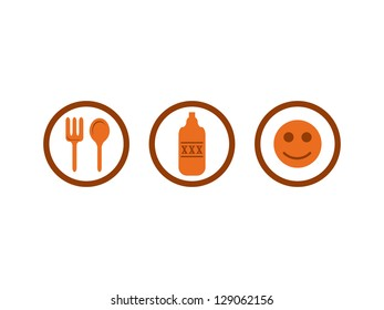 Eat, Drink and Fun Icons.