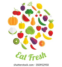 Eat fresh label with fruit and vegetable in flat style.