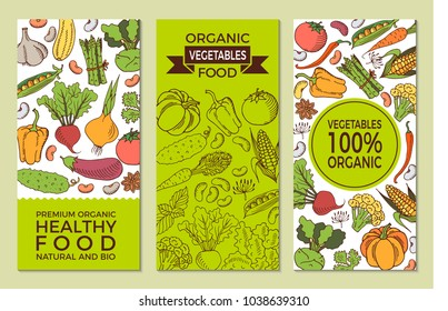 Eat healthy food poster with fresh vegetables on blackboard.