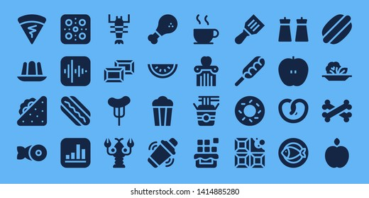 eat icon set. 32 filled eat icons. on blue background style Simple modern icons about  - Crepe, Jelly, Sandwich, Fish, Pizza, Apple, Hotdog, Lobster, Chocolate, Sausage, Chicken
