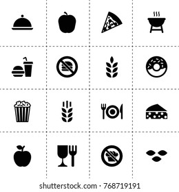 Eat icons. vector collection filled eat icons. includes symbols such as wheat, seeds, apple, cheese, pizza, popcorn, donut, diet. use for web, mobile and ui design.