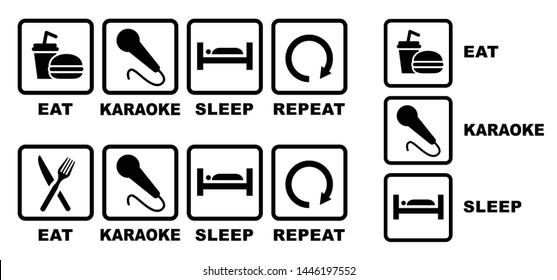 Eat karaoke sleep repeat Eat play sleep repeat Eat sleep play game Vector fun funny symbol icon icons sign signs happy Microphone Mike Song contest Music musical notes sing singer party sound bar