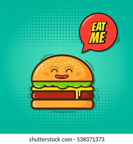 Eat me vector illustration!Cartoon funny burger with emblem eat me on a blue background!