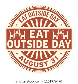 Eat Outside Day, August 31, rubber stamp, vector Illustration
