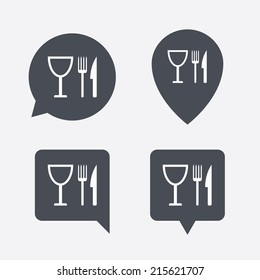 Eat sign icon. Cutlery symbol. Knife, fork and wineglass. Map pointers information buttons. Speech bubbles with icons. Vector