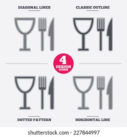 Eat sign icon. Cutlery symbol. Knife, fork and wineglass. Diagonal and horizontal lines, classic outline, dotted texture. Pattern design icons.  Vector