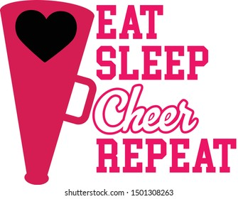 Eat Sleep Cheer Repeat - Cheerleading niche quote vector design