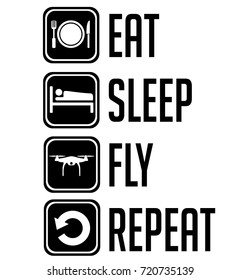 Eat Sleep Fly Repeat Black Sign Icon Isolated On White
