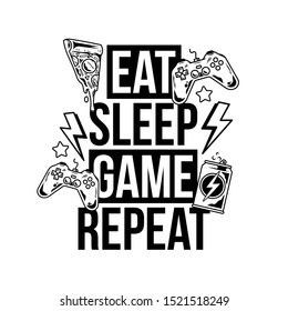 Eat sleep game repeat trendy geek culture slogan for gamer player video game with energy drink pizza and gamepad controller joystick Fashion vector print design illustration for poster t-shirt apparel