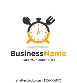 Eat time vector logo template. This logo with clock, spoon and fork symbol. Suitable for home, restaurant, cooking, healthy.