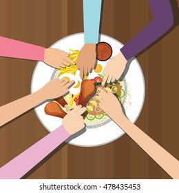 eat together many hands one plate food view from top