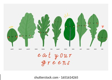 Eat Your Greens - Cute vector illustration. Cartoon simple banner with various Greens - Kale, Chard, Spinach, Arugula, Dandelion greens. Fresh greens food characters.