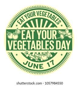 Eat Your Vegetables Day,  June 17, rubber stamp, vector Illustration