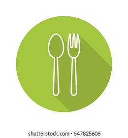 Eatery flat linear long shadow icon. Fork and spoon. Vector line symbol