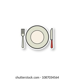 Eatery patch. Fork, table knife and plate. Tableware set. Color sticker. Vector isolated illustration