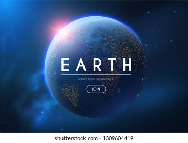 Eath Planet in Space with Lights. Realistic Universe. Cosmos Background. Vector illustration