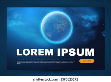 Eath Planet in Space with Lights. Realistic Universe. Cosmos Background. Landing Page. Vector illustration
