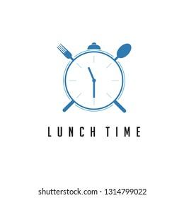 Eating Alarm Clock Logo Vector.
