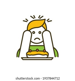 Eating disorder RGB color icon. Abnormal eating habits. Anorexia, bulimia. Extreme overeating and weight loss. Binge-eating disorder. Food refusal. Feeding problem. Isolated vector illustration