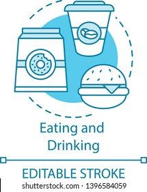 Eating and drinking concept icon. Unhealthy food. Junk food. Pack of donuts, coffee, burger. Lunch. Fastfood idea idea thin line illustration. Vector isolated outline drawing. Editable stroke