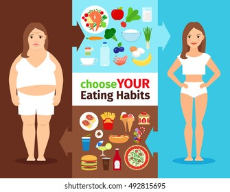 Eating habits vector women infographics. Healthy lifestyle and cooking weight loss concept