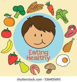 Children Eating Healthy Stock Vectors Images Vector Art Shutterstock
