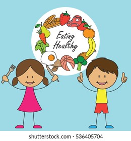 Child Eating Healthy Food Stock Vectors Images Vector Art Shutterstock