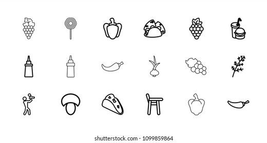 Eating icon. collection of 18 eating outline icons such as mushroom, grape, deel, father with baby, taco, ketchup, pepper. editable eating icons for web and mobile.