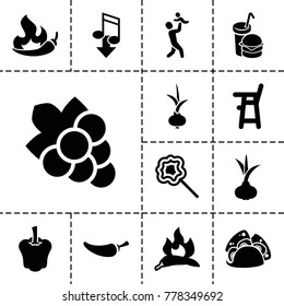 Eating icons. set of 13 editable filled eating icons such as onion, chili, baby chair, grape, taco, pepper, burger and drink, lollipop, eating mouth