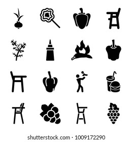 Eating icons. set of 16 editable filled eating icons such as chili, pepper, baby chair, grape, father with baby, ketchup, burger and drink, lollipop, onion, grape