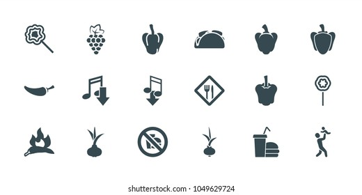 Eating icons. set of 18 editable filled eating icons: onion, grape, chili, pepper, eating mouth, lollipop, restaurant, no fast food, father with baby, taco